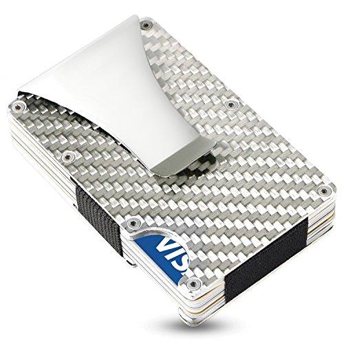 SEMLIMIT Premium Kreditkartenetui Carbon - mit Geldklammer, RFID/NFC Schutz - Geldbörse für bis zu 15 Kreditkarten