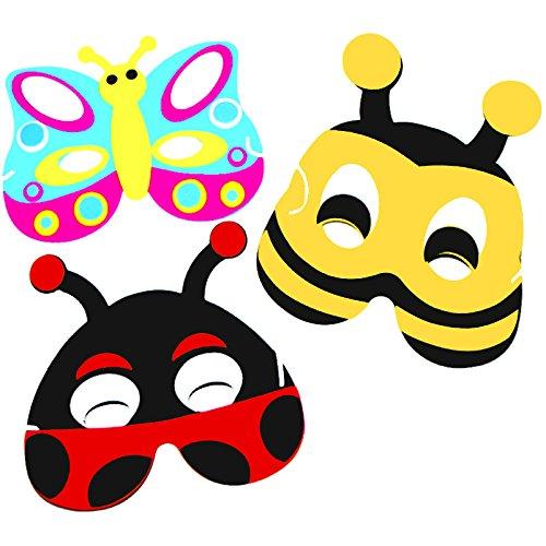 x Krabbeltiere Masken aus Schaumstoff ┃ für Kinder ┃ Mutschekäfer ┃ Schmetterling ┃ Biene ┃ Ideal zum Kindergeburtstag und Karneval (Schmetterlings Masken Für Kinder)
