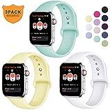Hamile Armband Kompatibel für Apple Watch 38mm 40mm, Weiche Silikon Wasserdicht Ersatz Uhrenarmbänder für Apple Watch Series 4, Series 3, Series 2, Series 1, S/M Weiße/Blau Meer/Mildes...