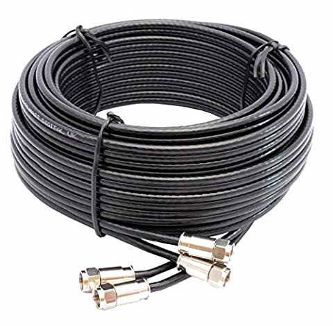 Mast Digital 15 m Twin Satellite Shotgun Cable Extension Kit with Premium Fitted Compression F Connectors for Sky and Freesat - Black
