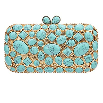 Bonjanvye Man Made Turquoise Wedding Clutch Bags And Purses For Women Handbags