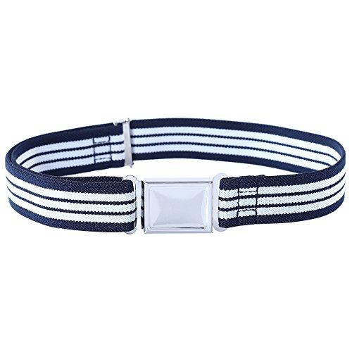 Kajeer Gürtel für Jungen Mädchen Verstellbar - Großer Elastischer Stretchgürtel mit einfacher Magnetschnalle (Marineblaue & Weiße Streifen)