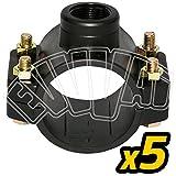 5 PZ - PRESA A STAFFA SEMPLICE 63 X 1' PER IRRIGAZIONE TUBO ACQUA GIARDINAGGIO