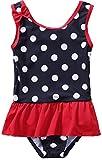 Sociala Baby Mädchen Einteiler Badeanzug mit Rock Punkte Print Rundhalsausschnitt Breite Träger Dunkelblau 2-3 Jahre