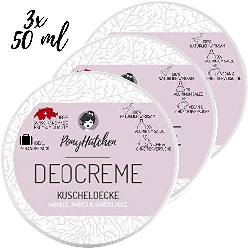 3X 50 ML SPARSET - PonyHütchen Naturkosmetik Deo Creme Kuscheldecke - BESTSELLER - unisex - 100% natürliche Wirkung - ohne Aluminiumsalze - 50 ml - natürliches Deodorant - vegan - BIO Deocreme -