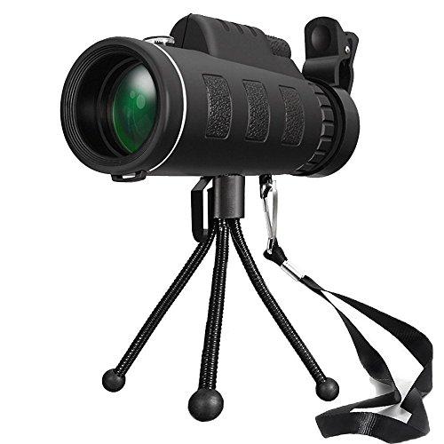 FELiCON 40 x 60 Telescopio Monocular HD Telescopio Monocular Impermeable Telescopio Monocular para Movil con trípode y Adaptador para Smartphone Monoculares para Observación de Las Aves Caza Camping