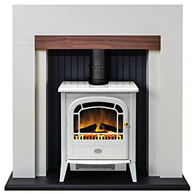 Adam Salzburg Stove Suite in Cream with Courchevel Electric Stove in White, 39 Inch