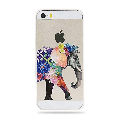 iPhone SE Hülle iPhone 5S Schutzhülle Schlank Transparent Weicher Gel Silikon Handyhülle Bunt Telefon Kasten Schutzhülle für iPhone 5 Einfache kleine Tiere (Metall Telefon-kasten Iphone 5)