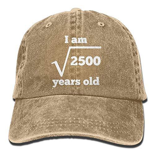 Preisvergleich Produktbild VYPHN 50 Years Old Square Root Funny 50th Birthday Adjustable Baseball Cotton Washed Denim Hat Navy