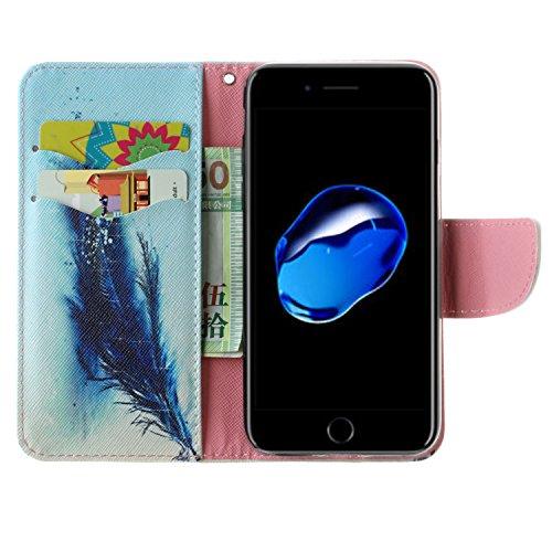 Coque pour iPhone 7 (4,7 Zoll),Housse en cuir pour iPhone 7 (4,7 Zoll),imprimé étui en cuir PU Cuir Flip Magnétique Portefeuille Etui Housse de Protection Coque Étui Case Cover avec Stand Support Avec gouttes d'eau de printemps