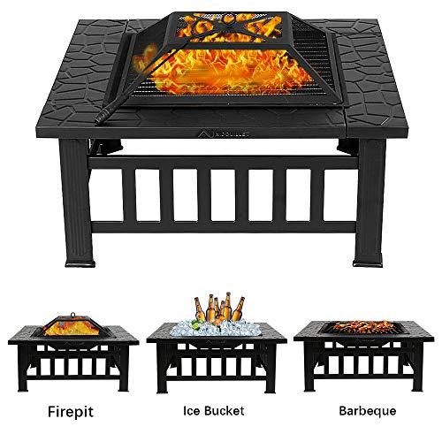 Nidouillet Feuerstelle BBQ Innenhof Terrasse Quadratisch Metall Feuerherd Grill mit wasserdichter Abdeckung für Outdoor, Camping, Picknick, Kochen,...