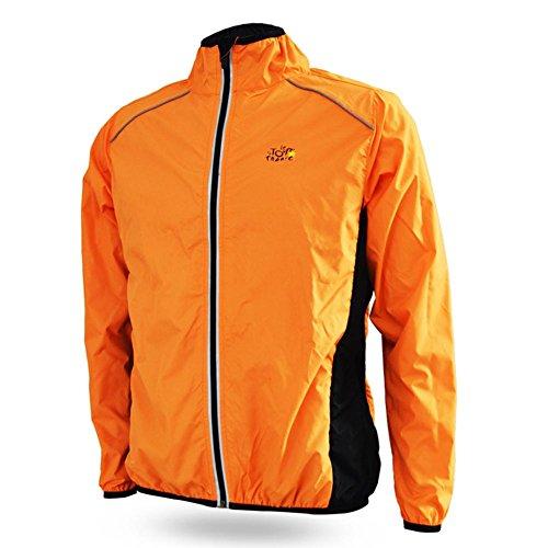 Schnelltrockend Herren-Sportjacke, atmungsaktiv, Regenjacke, Rain Coat Cycle Bike Fahrrad- Kleidung, winddicht, mit langen Ärmeln, Jersey für Radfahren (XL, Orange) -