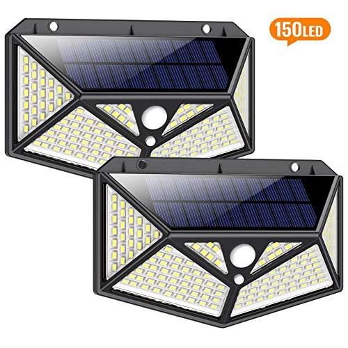 Solarlampen für Außen mit Bewegungsmelder 1500 Lumen,iPosible 150LED Umweltschutz Solar Aussenleuchte Led Solarleuchten für Außen Solar Wasserdichte Wandleuchte Solar Bewegungsmelder Aussen-2 Stück