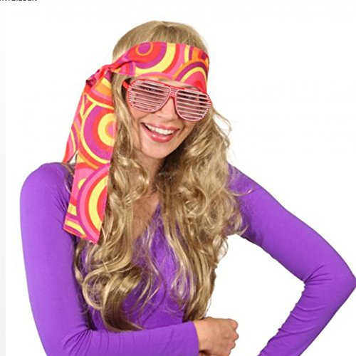 Stirnband Hippie Haarband orange-gelb Flower Power Kopfband 60er Jahre Haar Band Peace Haarschmuck Fasching Mottoparty Kopfschmuck Karnevalskostüme Accessoires ()