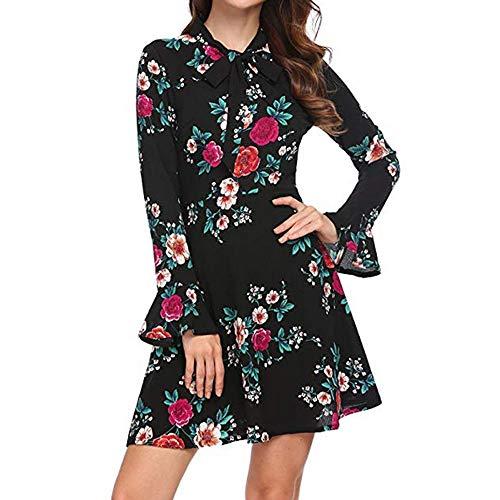 Kleider Damen,SANFASHION Frauen Mode Aufflackern Langarm Bogen O-Ansatz Mit Blumenmuster Minikleid