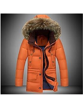 MHGAO Capa de la chaqueta con capucha del invierno de Down largo y grueso cuello de la piel de los hombres , brown...