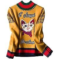 Mena Suéter De Punto De Bordado Ocasional De Moda De Mujer Tops De Puente ( Color : Yellow-2 , Tamaño : XS )