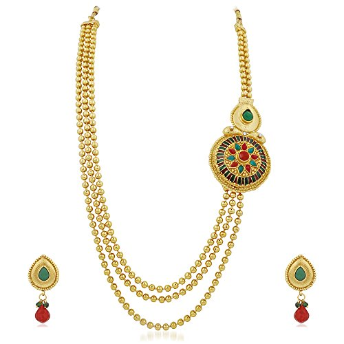 Apara Gold Plated three line one sided Rani Haar  available at amazon for Rs.398