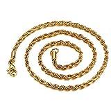 ODJOY-FAN Hüfte Hop Damen Halskette 3mm Gold Rostfrei Stehlen Verknüpfung Halskette Mode Schmuck (50 * 3mm / 61 * 3mm / 76 * 3mm)(A,1 PC)
