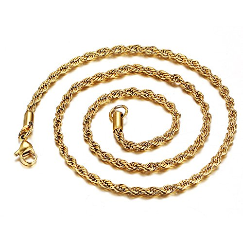 TUDUZ Gold Damen-Halskette ohne Anhänger-Erbskette-Rolo Kette-3mm Breite-Längen 50/61/76cm,Halskette Schmuck(76cm * 3mm) (22k Gold Herren Armband)