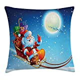 Christmas Decorations Throw Pillow Cushion Cover by, Santa Claus on Dreamy Magical Starry Sky Full Moon Father Cartoon Picture, Decorative Square Accent Pillow Case, 18 X 18 Inches, Multi