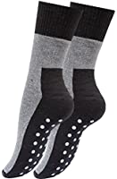 2, 4 oder 6 Paar ABS Socken Vollplüsch, Anti Rutsch Socken Stoppersocken Bi-Color Schwarz / Grau