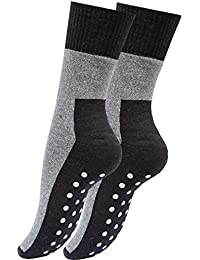 4 paires, chaussettes antidérapantes, peluche, chaussettes de butée, Bi Couleur: Noir / Gris