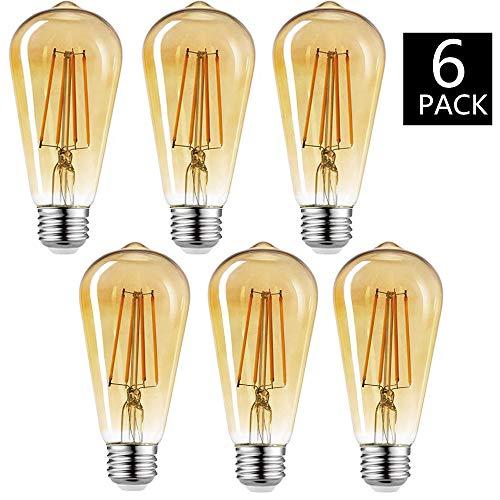 Edison Vintage Glühbirne, 4W E27 ST64 Edison LED Lampe Retro Filament Glühbirne Warmweiß Dekoratives Leuchtmittel Ideal für Haus Bars Cafés- 6 Stück [Energieklasse A++] -