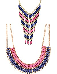 Valentine Gifts: Voylla Set Of 2 Statement Necklace Adorned With Pink And Blue Beads For Women, Girlfriend & Wife