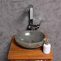 WOHNFREUDEN Naturstein Waschbecken Rund Oval 30 Cm ♥ Stein  Aufsatzwaschbecken Für Gäste WC Bad ✓ Einzeln