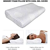 Proliva Memory Foam Pillow with Cooling Cover - Orthopedic Pillows Prevent Back and Neck Pain - Bamboo Washable Cover Infused Cool Gel - for Back, Stomach and Side Sleepers