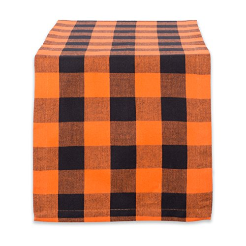 DII Cotton Buffalo Check Table Runner for Family Dinners or Gatherings, Indoor or Outdoor Parties, Halloween, Everyday Use (14x108, Seats 8-10 People), Orange & Black