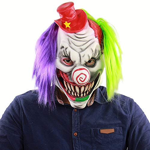 Kostüm Unheimlich Clown Böse Kind - Halloween-Maske Horror Red Hat Clown Unheimlich Spukhaus Room Escape Dress Up Live Lustige Kopfbedeckung