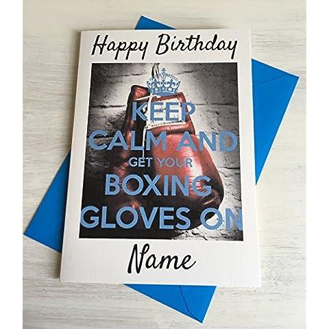 Keep Calm And Get Your Guanti da boxe personalizzata Premium Avorio compleanno scheda
