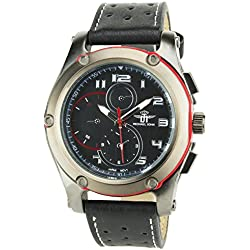 MICHAEL JOHN -MENS WATCH BLACK RED QUARTZ Stainless Still Case Analog Display FAUX LEATHER BLACK BAND