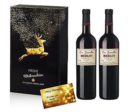 Weihnachts Präsent Les Jamelles Merlot Rotwein In 2er Set Weihnachtszauber