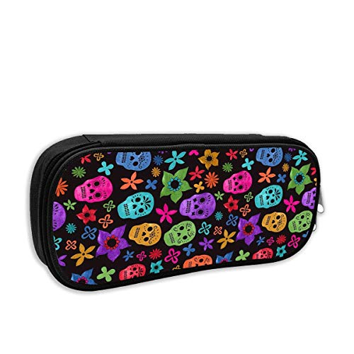 Halloween Wallpaper Skull Pencil Case Pouch Bag Multifunction Cosmetic Makeup Bag School Office Storage Organizer
