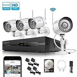Funlux 4 Kanal 1080p HDMI NVR Überwachungssystem mit 4 echten 720p HD kabellosen WLAN Kamera indoor/outdoor, wetterfest, mit 500GB HDD