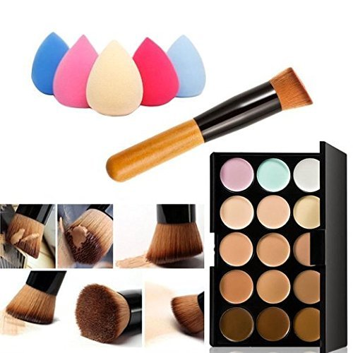 Olym Store Mode de base Nouveau 15 couleurs Crème Contour visage Maquillage Correcteur Palette + Oblique Head Contour pinceau de maquillage Pinceau Poudre + Éponge (Goutte d'Eau)
