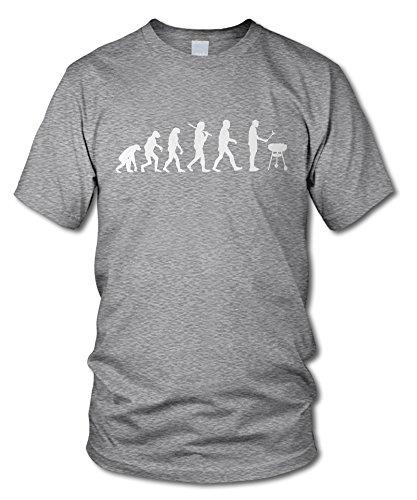 shirtloge - EVOLUTION GRILLER - KULT - Fun T-Shirt - in verschiedenen Farben - Größe S - XXL Grau-Meliert (Weiß)
