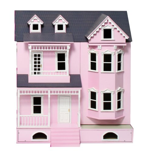 new-in-box-luxury-pink-wooden-dolls-house-kit-with-basement