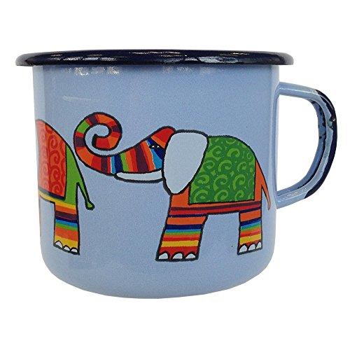 SMALTUN Taza de café de Esmalte Smaltum - de la Taza de té (Varios Coloures), de 0,5 LTR, Motivos de 3 Elefantes, Metal, Beige