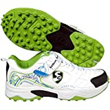 SG Rubber Cricket Spike Shoes With Dual Closure, Laces And Velcro Strap