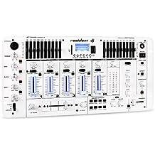resident dj Kemistry 3WH mesa de mezclas de 4 canales (con Bluetooth, USB, SD, conexión XLR, Jack, RCA, ecualizador 10 bandas, efectos sonido, conexión micrófono) - blanco