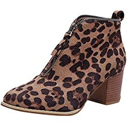 Rawdah Botas Mujer Invierno Mujer Zapatos de Mujer Moda Botín de Leopardo sólido Cremallera Martin Bootie Botas Cortas Zapatos Mujer Plataforma