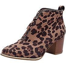 Rawdah Botas Mujer Invierno Mujer Zapatos de Mujer Moda Botín de Leopardo sólido Cremallera Martin Bootie