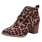 JURTEE Damen Schuhe Knöchel Solide Leopard Reißverschluss Martin Bootie Kurze Stiefel Dicke Ferse Römische Stiefel