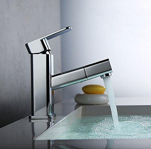 Tout cuivre chaud et Bassin d'eau froide robinet de bain Taipen peut tirer le robinet de bain robinet de bassin WC ( couleur : Chrome )