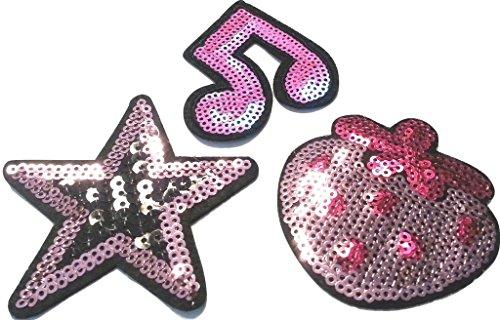 b2see Strass Glitzer Aufnäher Patches Applikation mit Strass Pailletten Glitzer Aufnäher Patches zum aufbügeln 3 er Set pink-Girly-Farben Stern Musiknoten + Erdbeere je 6-7 cm (Sechs-sterne-erdbeere)