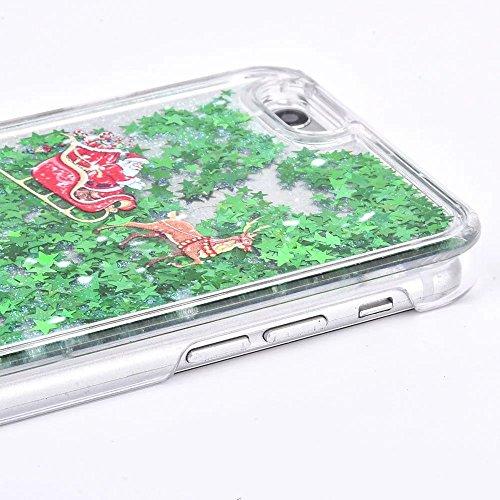 Coque iPhone 7 Transparent Glitter Liquide 3D Bling Étoiles Paillettes Thème de Noël Etui pour iPhone 7 Housse Silicone PC Plastique Rigide Shell Housse de Protection Bumper Case Cover Couverture Anti Cerf